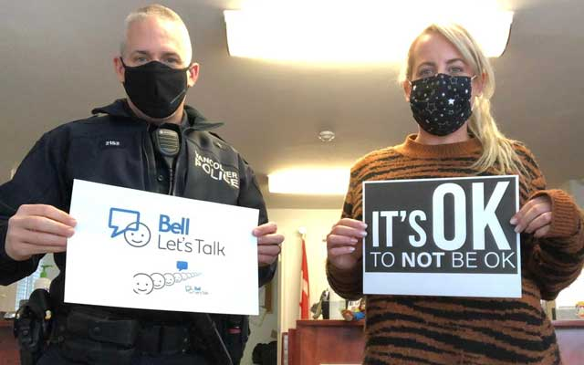 KOM CPC Executive Director And VPD Officer Supporting Bell 'Let's Talk'