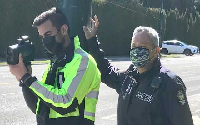 KOM CPC Volunteer And VPD Officer Participating In Speedwatch